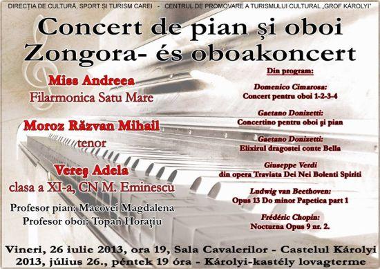 Concert de pian si oboi la Castel
