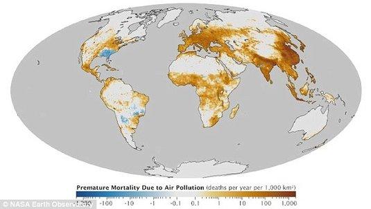 Harta poluării aerului in lume – România, printre ţările cu cei mai mulţi morţi din această cauză