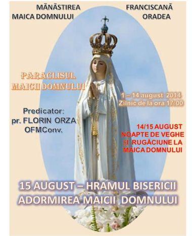Paraclisul Maicii Domnului la Mănăstirea Franciscană din Oradea.Program
