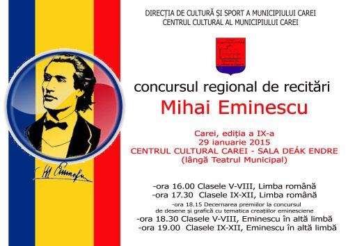 """Concurs regional de recitari """"Mihai Eminescu"""", editia a 9-a la Carei"""