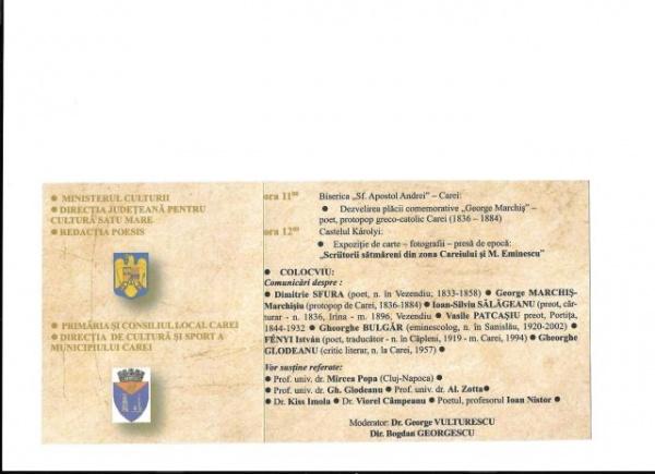 Ministerul Culturii şi…M.Eminescu, la Carei