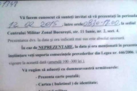Începe războiul? Primul tânăr român a primit ordinul de încorporare de a se prezenta la Centrul Militar Zonal