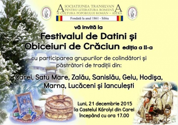 Festivalul de Datini şi Obiceiuri de Crăciun, Carei 2015. Invitaţie