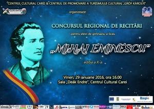 """77 participanţi la Concursul  de recitări """"Mihai Eminescu"""" Carei  2016"""