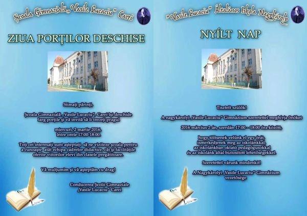 Ziua Porţilor Deschise la Şcoala Vasile Lucaciu