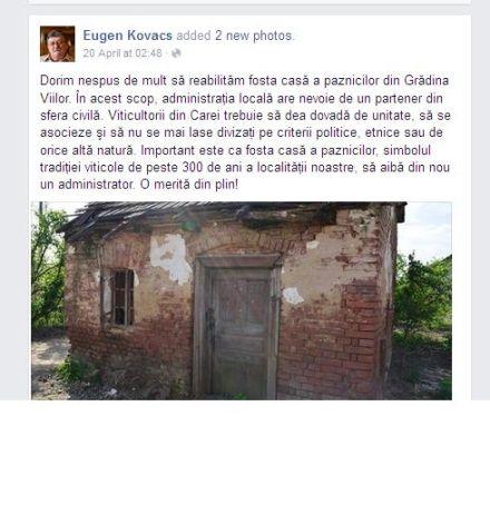 Candidatul Kovacs se inspiră din Buletin de Carei şi Ilie Ciută