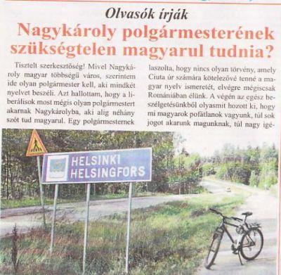Goarna UDMR Carei nu precizează dacă în Finlanda primarii au datorii la bugetul de stat
