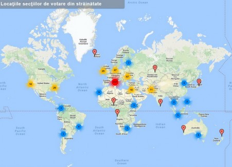Lista secţiilor de votare din străinătate