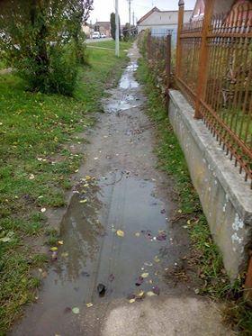Trotuar de pe Calea Mihai Viteazu din Carei. Prefectura a fost solicitată să intervină
