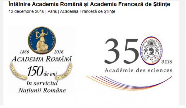 Întâlnirea dintre  Academia Română și Academia Franceză de Științe