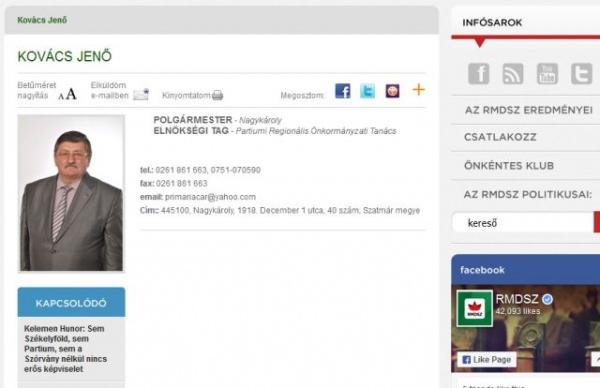Adresa oficială a UAT Municipiul Carei folosită ca adresă de corespondenţă pentru Partium