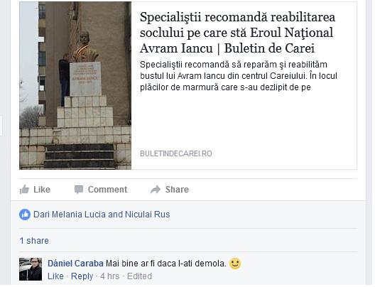 Reacţie extremă a unui careian  la adresa bustului Eroului Naţional Avram Iancu