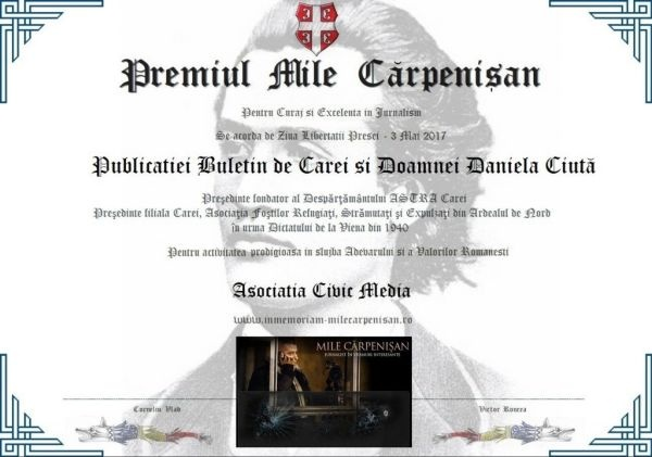 """Premiul """"Mile Cărpenişan"""" pentru Buletin de Carei"""