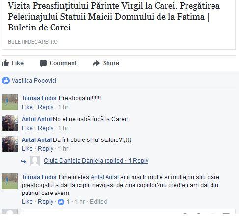 Nici înaltele feţe bisericeşti româneşti nu scapă la Carei de comentatorii disperaţi