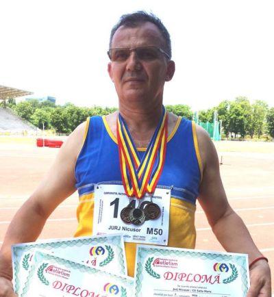 Nicuşor Jurj din Carei confirmă. Se poate face performanţă şi după 50 de ani. 3 medalii la Campionatul Naţional de atletism
