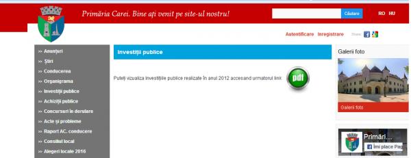 Site-ul Primăriei Carei. www.municipiulcarei.ro. Astăzi secţiunea ,,Investiţii publice,,