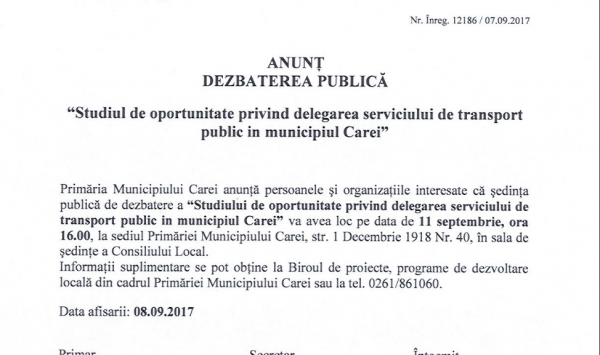 DEZBATERE PUBLICĂ pentru delegarea Serviciului de Transport Public la Carei