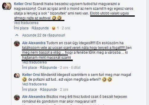 Ameninţări  concrete în limba maghiară din partea a două comentatoare