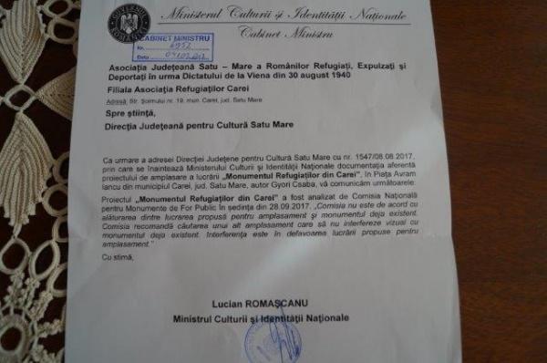 Monumentul foştilor Refugiaţi din 1940 îşi caută loc în Carei. Lucian  Romaşcanu, Ministrul Culturii pune punctul pe i