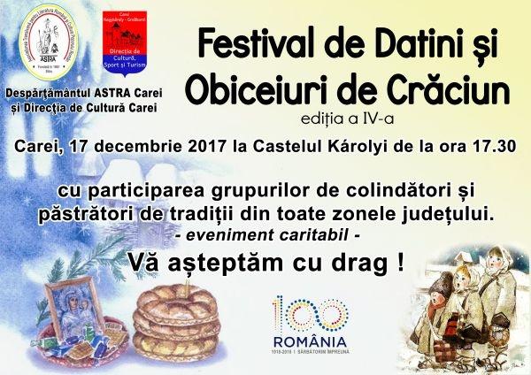 Festival de Datini şi Obiceiuri de Crăciun la Carei. Ediţia a IV-a
