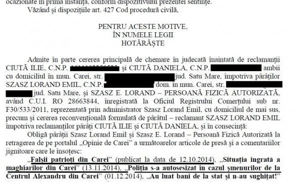 Tribunalul Satu Mare şi Curtea de Apel Oradea decid ştergerea unor articole de pe alt site decât cel pe care au apărut