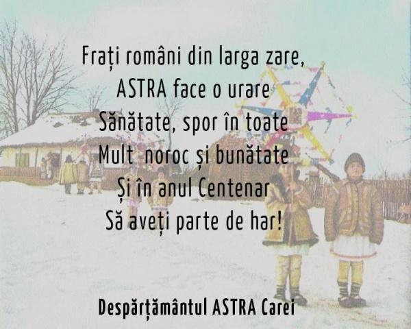 Mesajul de An Nou al Despărţământului ASTRA Carei