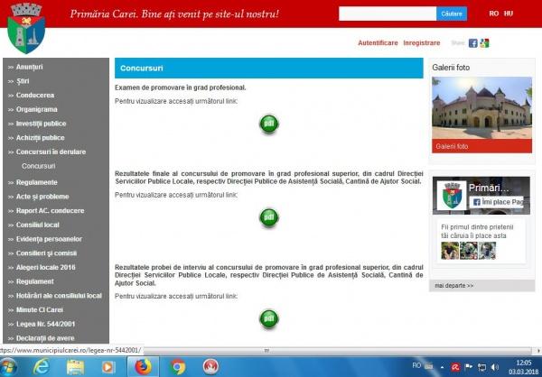 Primăria Carei scoate la concurs postul de consilier pentru Serviciul de contabilitate dar  nu face public anunţul pe pagina oficială
