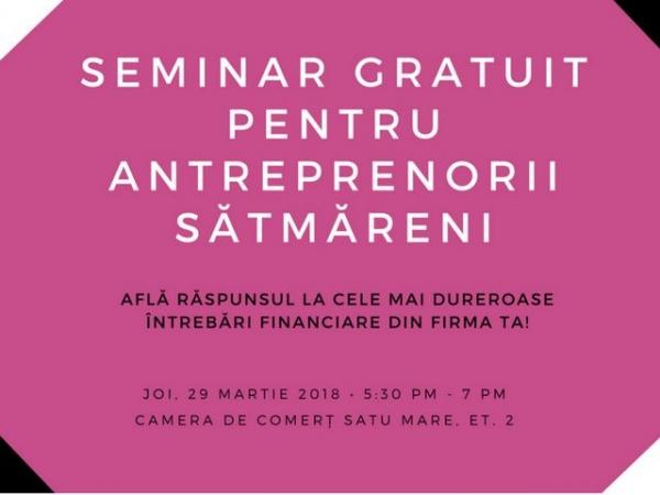 Seminar gratuit pe teme financiar-contabile pentru antreprenorii sătmăreni