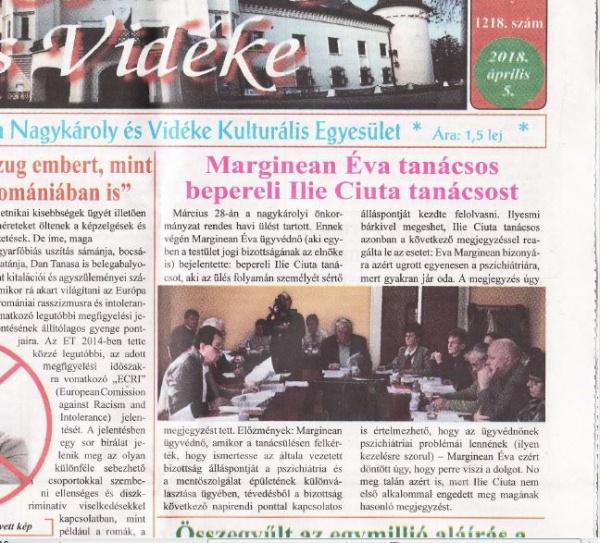 Dezinformare crasă a cititorilor de limbă maghiară în presa locală. Incitări la adresa consilierului Ilie Ciută în Joia Mare