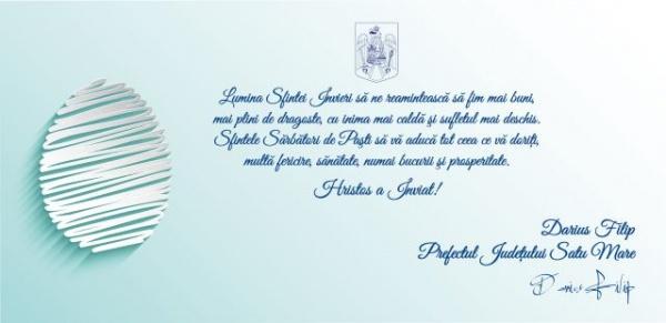 Mesajul Instituţiei Prefectului de Sărbătorile Pascale