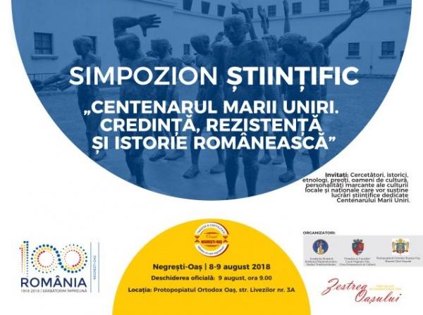 """Simpozion  """"Centenarul Marii Uniri, Credință, Rezistență și Istorie Românească,, la Negrești-Oaș"""