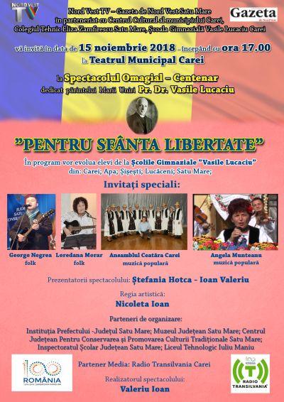 Marele patriot Vasile Lucaciu comemorat la Carei