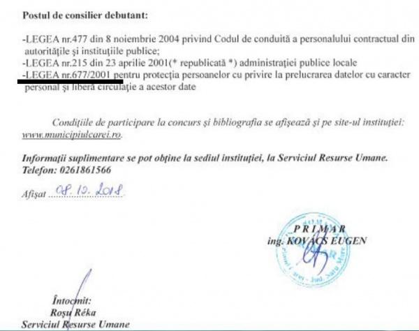 2 candidaţi au trecut de proba scrisă la concursul de la Primăria Carei cu Bibliografia ce conţine  o lege abrogată