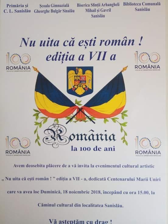 ,,Nu uita că eşti român,, în 18 noiembrie la Sanislău