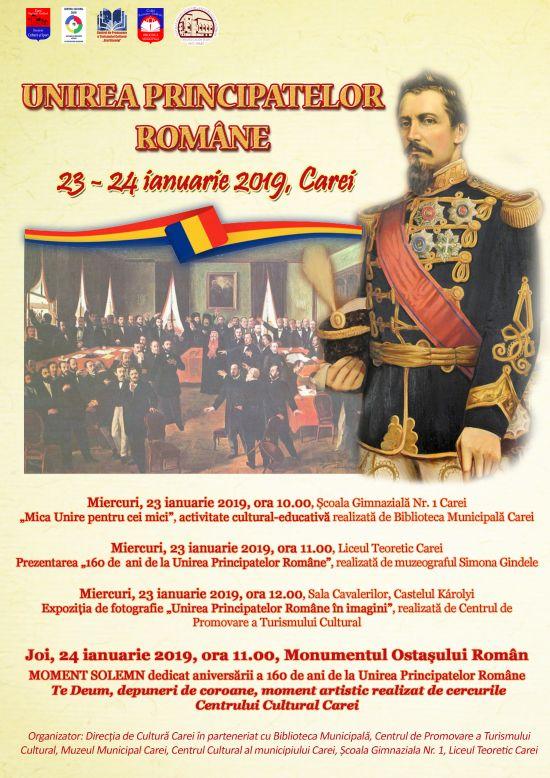 Ziua Unirii Unirii Prinicipatelor Române la Carei. Program