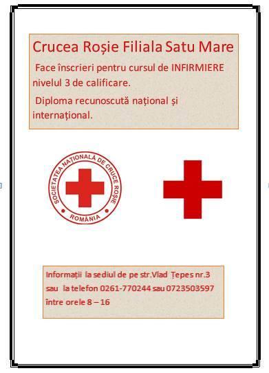 Curs de infirmieră organizat de Crucea-Roșie