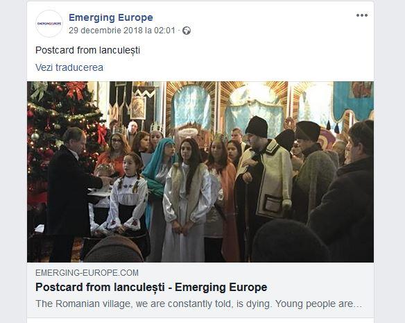 Emerging Europe despre Crăciunul în Ianculeşti