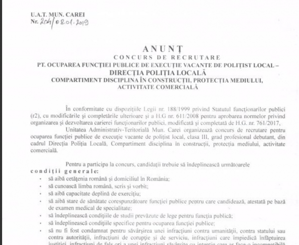 Post vacant de polițist local la Primăria Carei