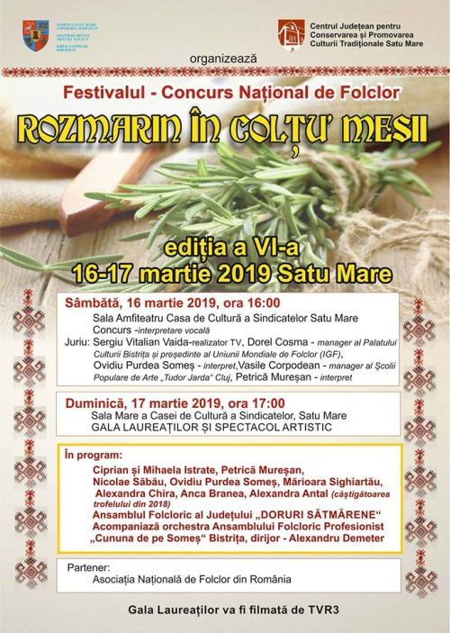 """Festivalul ,,Rozmarin în colţu' mesii"""" ajunge la a VI-a ediție"""