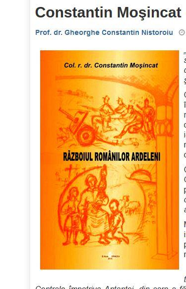"""Constantin Moşincat – """"Războiul românilor ardeleni"""""""