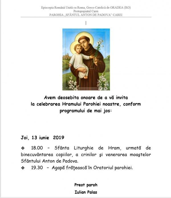 Invitație la Hram