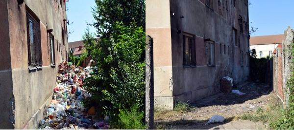 Gunoaie ridicate de la un bloc de locuințe sociale după semnalările Buletin de Carei