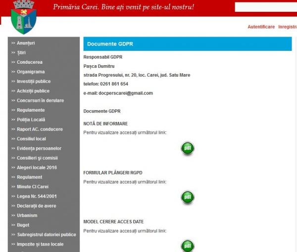 Primăria Carei a desemnat un responsabil cu protecția datelor cu caracter personal. Ofertă de adrese comune cu ale UDMR Carei