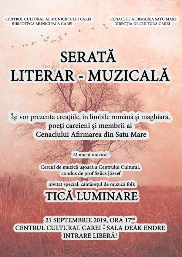 Serată literar-muzicală bilingvă la Carei cu participarea folk-istului Tică Luminare