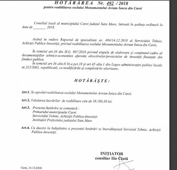 Proiect aprobat pentru reabilitare monument Avram Iancu la Carei