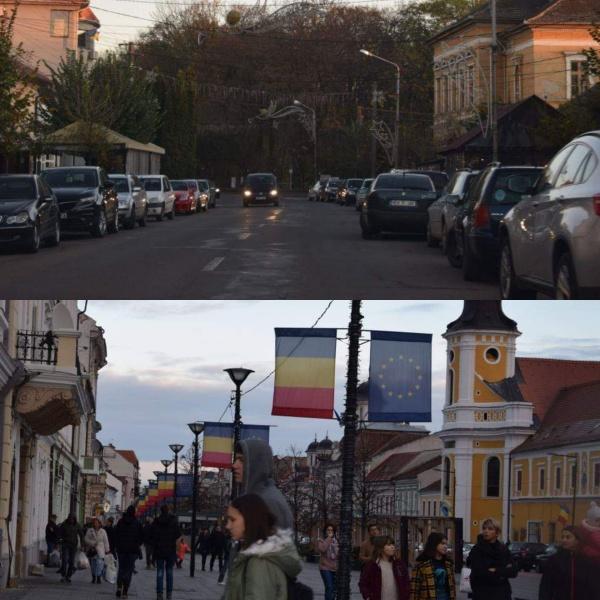 La Carei doar ornamente de Crăciun. La Cluj-Napoca și Sibiu flutură mii de steaguri tricolore