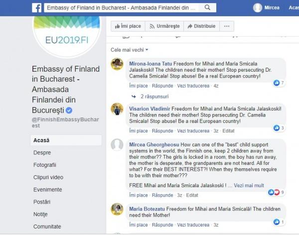 PROTEST al românilor pe pagina de facebook a Ambasadei Finlandei pentru copiii ținuți departe de mama lor