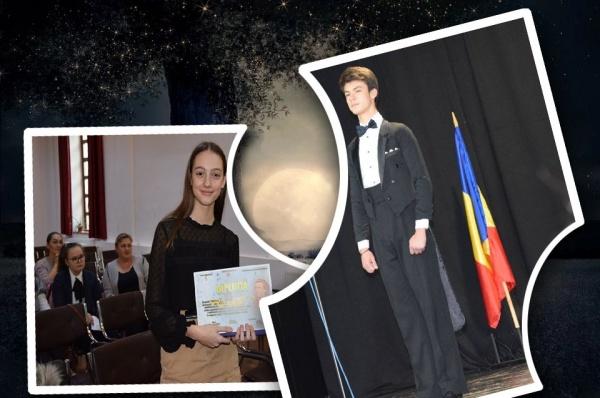 """Denisa Graz și Mircea Torok câștigă Concursul județean de recitări """"Mihai Eminescu"""" secția română. VIDEO"""