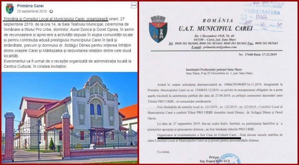 FALS în acte publice la Primăria Carei. Documentul adresat Prefecturii Satu Mare conține informații false