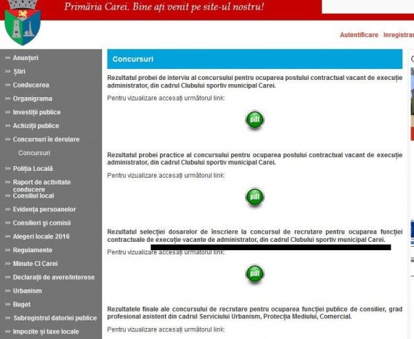 Buletin de Carei a obligat Primăria Carei să posteze rezultatele dosarelor de selecție pentru postul de administrator Club Victoria